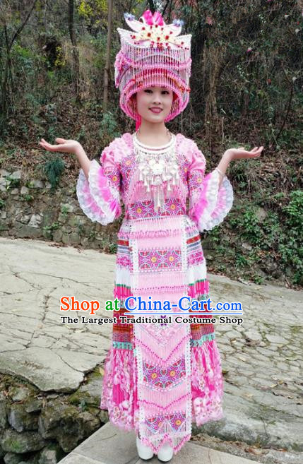 Traditional Chinese Minority Ethnic Folk Dance Embroidery Pink Dress Miao Nationality Stage Performance Costume and Hat for Women