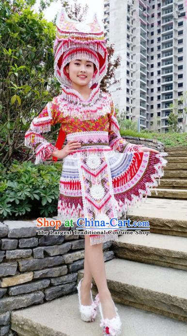 Traditional Chinese Minority Ethnic Folk Dance Embroidery Short Dress Miao Nationality Stage Performance Costume and Hat for Women