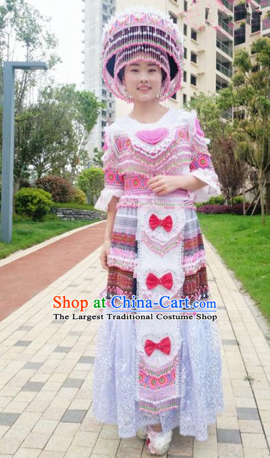 Traditional Chinese Minority Ethnic Folk Dance Embroidery White Dress Miao Nationality Stage Performance Costume and Hat for Women