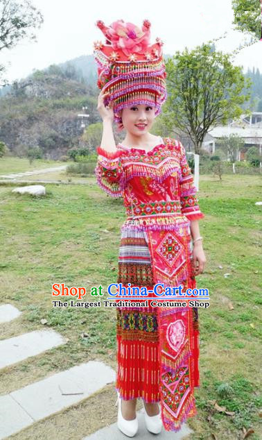 Traditional Chinese Miao Nationality Bride Embroidered Red Dress Minority Ethnic Folk Dance Stage Performance Costume for Women