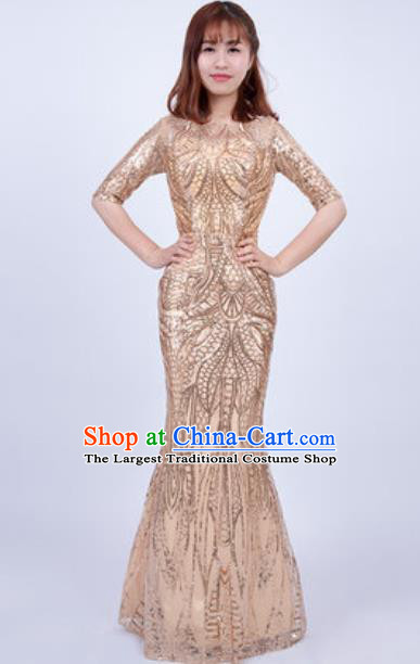 Top Grade Stage Performance Golden Full Dress Compere Modern Fancywork Modern Dance Costume for Women