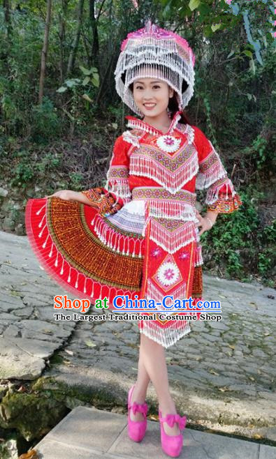Traditional Chinese Miao Nationality Female Embroidered Red Short Dress Minority Ethnic Folk Dance Stage Performance Costume for Women