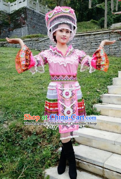 Traditional Chinese Miao Nationality Female Pink Costume Minority Ethnic Folk Dance Stage Performance Short Dress and Hat for Women