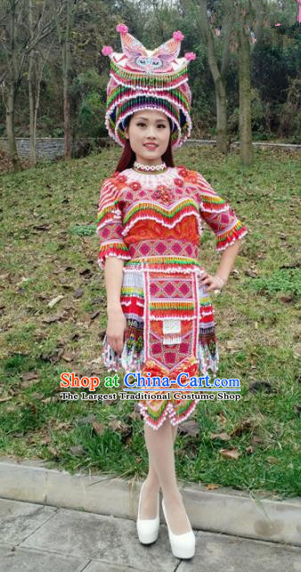Traditional Chinese Miao Nationality Female Red Costume Minority Ethnic Folk Dance Stage Performance Short Dress and Hat for Women