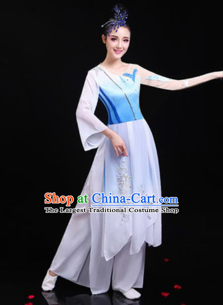 Traditional Chinese Classical Dance Group Dance White Dress Umbrella Dance Stage Performance Costume for Women