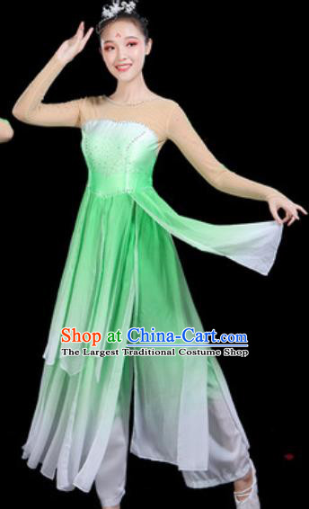Traditional Chinese Classical Dance Green Dress Umbrella Dance Group Dance Stage Performance Costume for Women