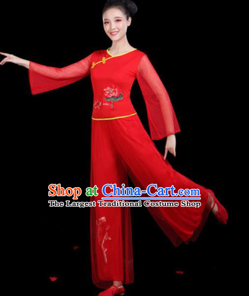 Traditional Chinese Yangko Group Dance Red Clothing Folk Dance Fan Dance Stage Performance Costume for Women