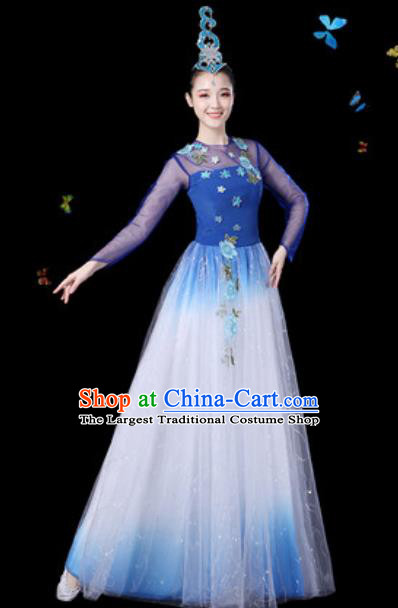 Traditional Chinese Spring Festival Gala Opening Dance Veil Dress Modern Dance Stage Performance Costume for Women