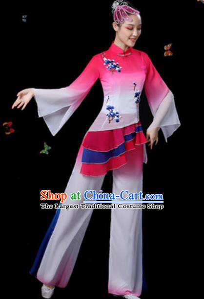 Traditional Chinese Classical Dance Rosy Clothing Umbrella Dance Group Dance Stage Performance Costume for Women