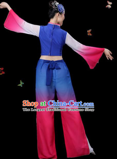 Traditional Chinese Yangko Group Dance Royalblue Clothing Folk Dance Fan Dance Stage Performance Costume for Women