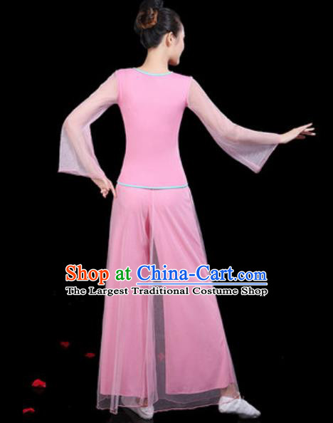 Traditional Chinese Yangko Group Dance Folk Dance Pink Clothing Fan Dance Stage Performance Costume for Women