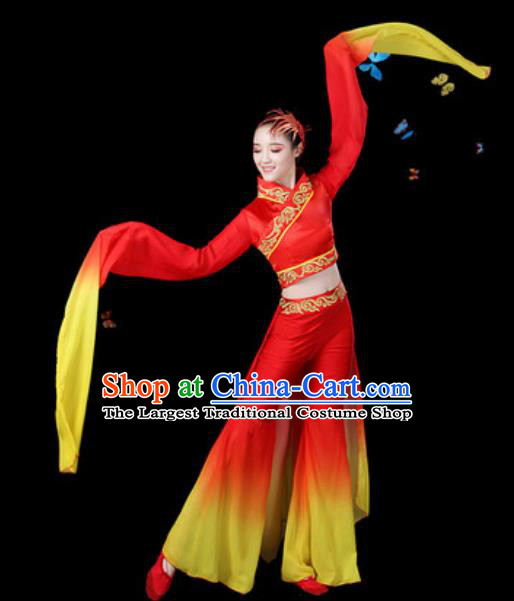 Traditional Chinese Yangko Group Dance Water Sleeve Clothing Folk Dance Fan Dance Stage Performance Costume for Women