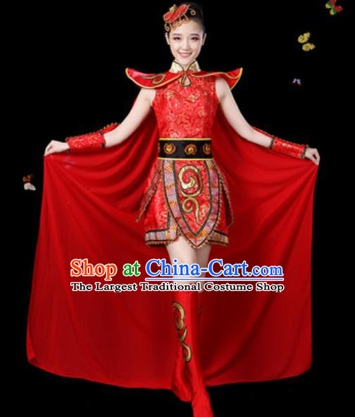 Traditional Chinese Yangko Group Dance Red Dress Folk Dance Drum Dance Stage Performance Costume for Women