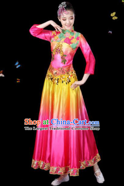 Traditional Chinese Classical Dance Chorus Rosy Dress Umbrella Dance Group Dance Stage Performance Costume for Women