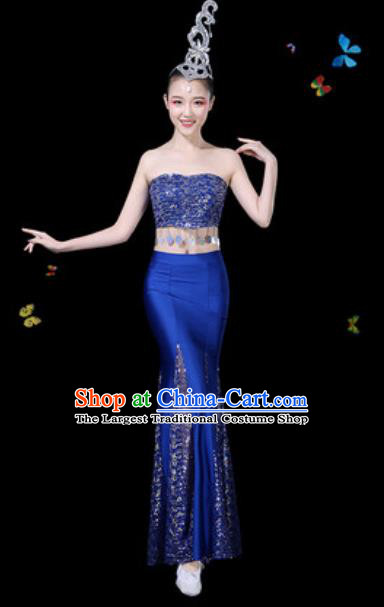 Traditional Chinese Minority Ethnic Peacock Dance Royalblue Dress Dai Nationality Stage Performance Costume for Women