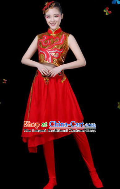 Traditional Chinese Yangko Group Dance Red Veil Dress Folk Dance Drum Dance Stage Performance Costume for Women
