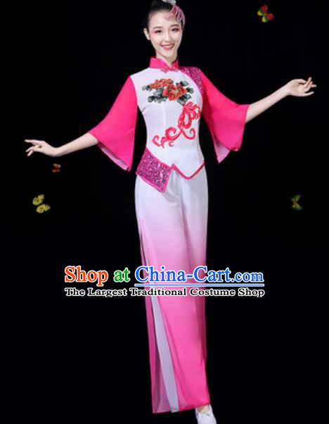 Traditional Chinese Group Dance Yangko Rosy Clothing Folk Dance Fan Dance Stage Performance Costume for Women