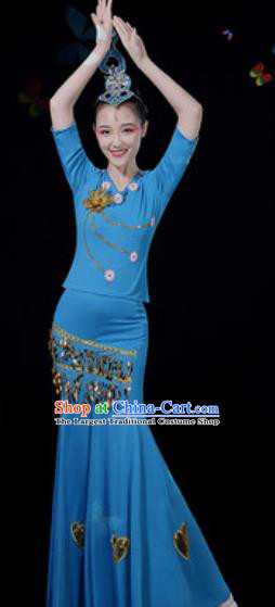 Traditional Chinese Minority Ethnic Peacock Dance Blue Dress Dai Nationality Stage Performance Costume for Women