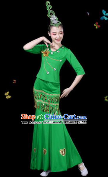 Traditional Chinese Minority Ethnic Peacock Dance Green Dress Dai Nationality Stage Performance Costume for Women