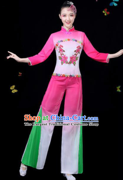 Traditional Chinese Group Dance Yangko Pink Clothing Folk Dance Fan Dance Stage Performance Costume for Women