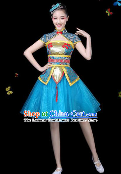 Traditional Chinese Yangko Blue Dress Folk Dance Drum Dance Stage Performance Costume for Women