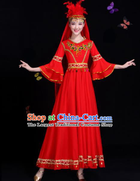 Traditional Chinese Minority Ethnic Red Dress Uyghur Nationality Dance Stage Performance Costume for Women