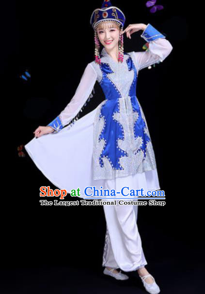 Traditional Chinese Minority Ethnic Blue Dress Mongol Nationality Dance Stage Performance Costume for Women