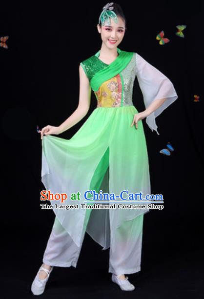 Chinese Traditional Classical Dance Green Clothing Fan Dance Group Dance Stage Performance Costume for Women