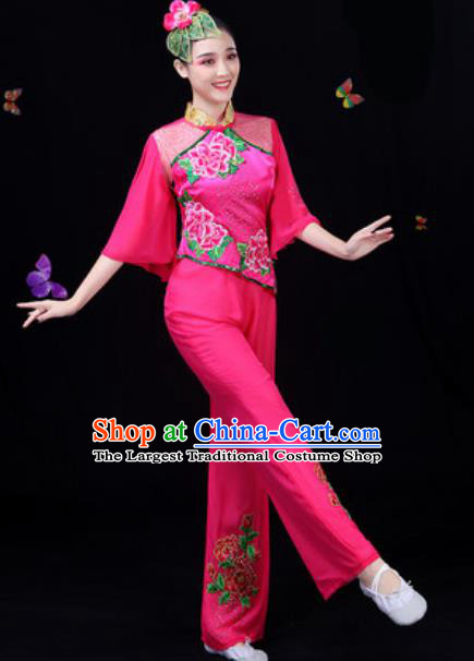 Traditional Chinese Yangko Embroidered Rosy Clothing Folk Dance Fan Dance Stage Performance Costume for Women