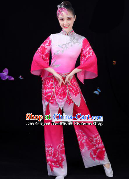 Traditional Chinese Yangko Lotus Dance Rosy Clothing Folk Dance Fan Dance Stage Performance Costume for Women