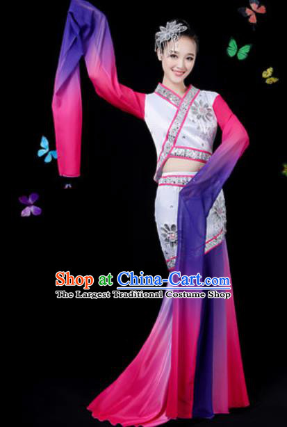 Chinese Traditional Classical Dance Purple Water Sleeve Dress Umbrella Dance Group Dance Stage Performance Costume for Women