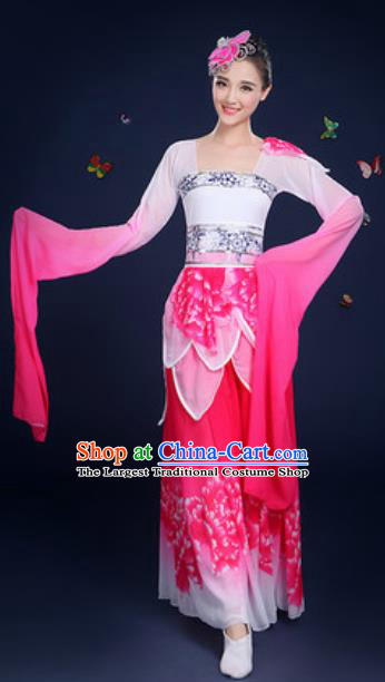 Chinese Traditional Umbrella Dance Lotus Dance Rosy Dress Classical Dance Stage Performance Costume for Women
