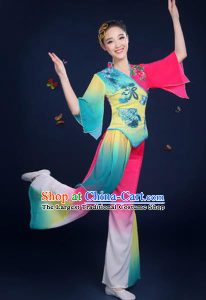 Traditional Chinese Fan Dance Clothing Folk Dance Yangko Stage Performance Costume for Women