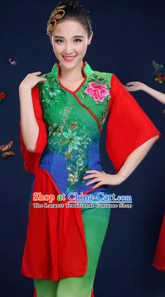 Traditional Chinese Fan Dance Deep Green Clothing Folk Dance Yangko Stage Performance Costume for Women