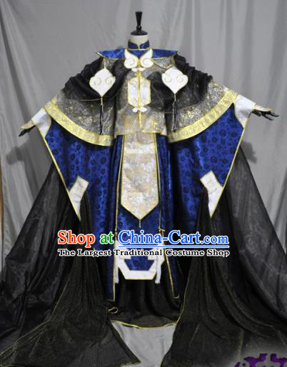 Traditional Chinese Cosplay Swordsman Royalblue Hanfu Clothing Ancient Prince Embroidered Costume for Men