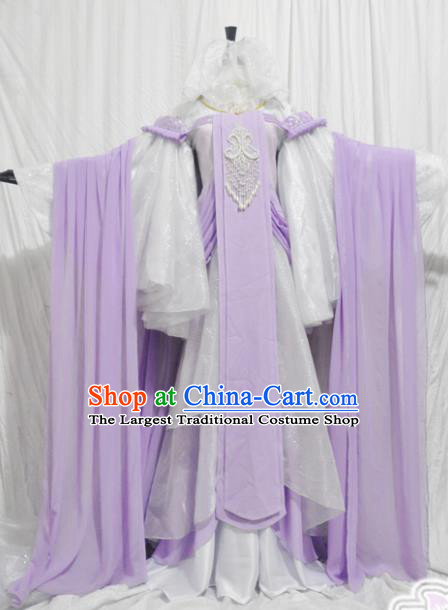 Traditional Chinese Han Dynasty Princess Purple Hanfu Dress Ancient Female Knight Embroidered Costume for Women
