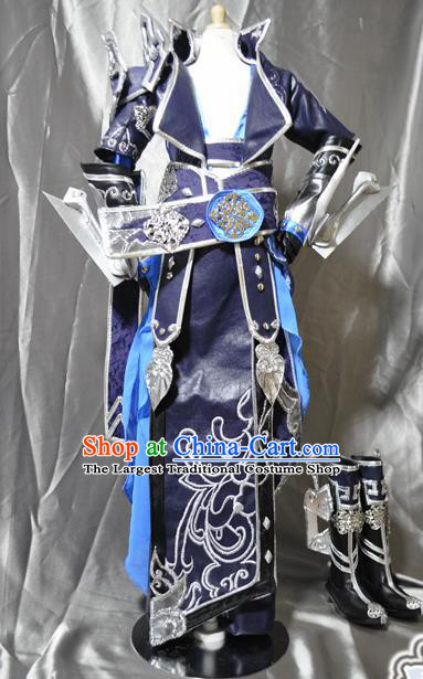 Traditional Chinese Cosplay Swordsman Purple Armor Hanfu Clothing Ancient Prince Embroidered Costume for Men