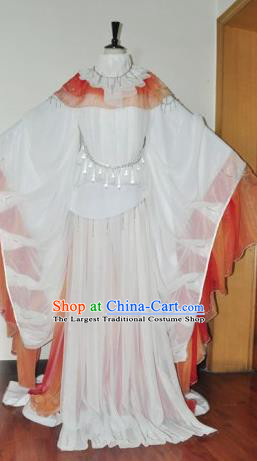 Traditional Chinese Han Dynasty Princess White Hanfu Dress Ancient Female Knight Embroidered Costume for Women