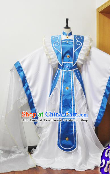 Traditional Chinese Han Dynasty Princess Blue Hanfu Dress Ancient Female Knight Embroidered Costume for Women