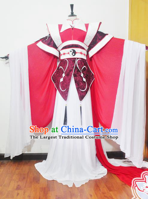 Traditional Chinese Han Dynasty Court Princess Red Hanfu Dress Ancient Swordswoman Embroidered Costume for Women