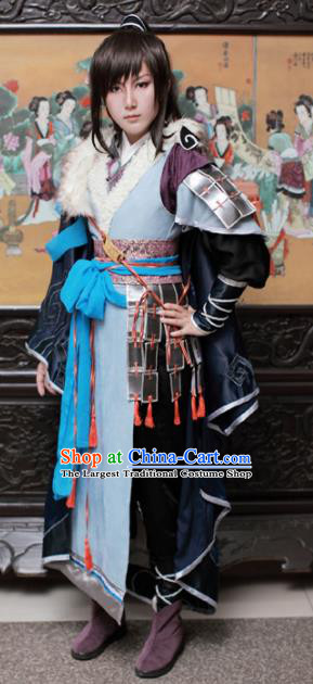 Traditional Chinese Cosplay Swordsman Hanfu Clothing Ancient Young Hero Embroidered Costume for Men