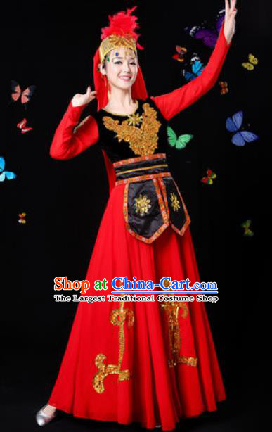 Traditional Chinese Minority Ethnic Dress Uyghur Nationality Folk Dance Stage Performance Costume for Women