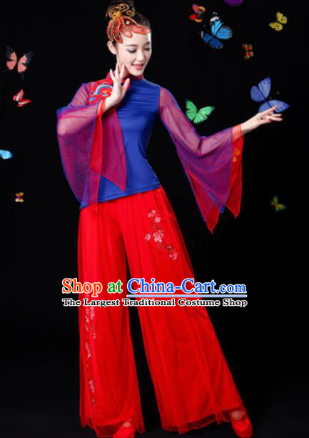 Traditional Chinese Yangko Dance Veil Clothing Folk Dance Fan Dance Stage Performance Costume for Women