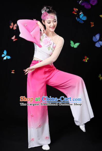 Traditional Chinese Yangko Dance Rosy Clothing Folk Dance Fan Dance Stage Performance Costume for Women