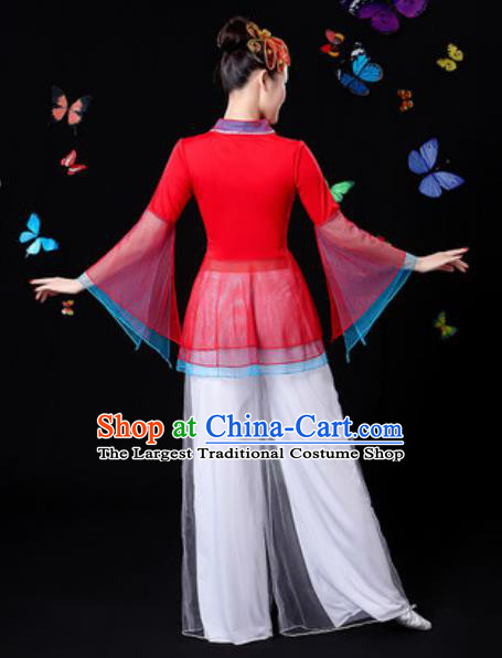 Traditional Chinese Yangko Dance Red Veil Clothing Folk Dance Fan Dance Stage Performance Costume for Women