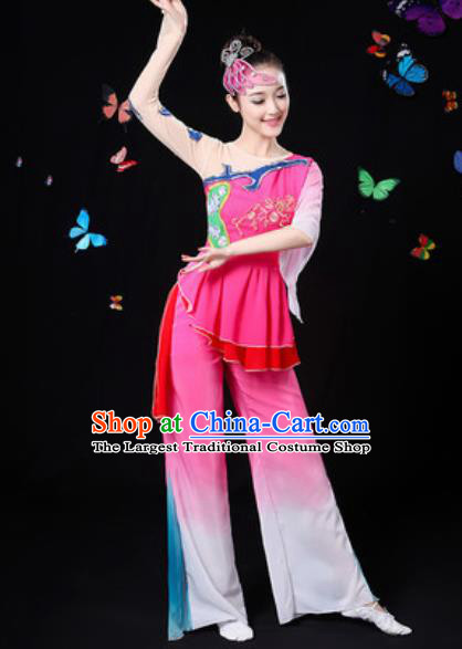 Traditional Chinese Yangko Group Dance Rosy Clothing Folk Dance Fan Dance Stage Performance Costume for Women