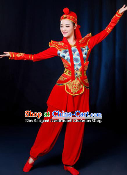 Traditional Chinese Yangko Group Dance Red Clothing Folk Dance Drum Dance Stage Performance Costume for Women