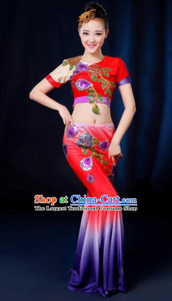 Traditional Chinese Minority Ethnic Red Dress Dai Nationality Peacock Dance Stage Performance Costume for Women