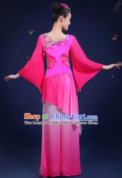 Chinese Traditional Classical Dance Group Dance Rosy Dress Umbrella Dance Stage Performance Costume for Women