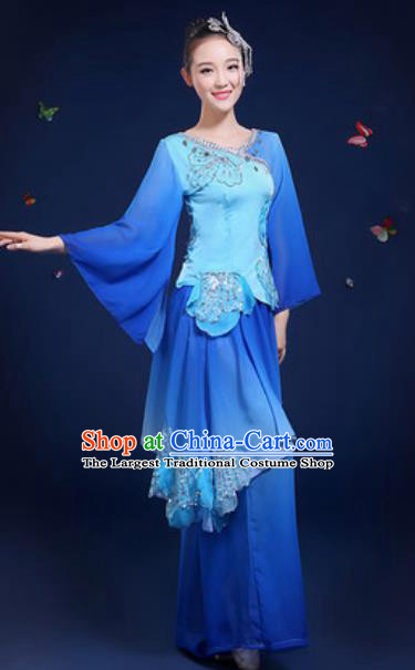 Chinese Traditional Classical Dance Group Dance Blue Dress Umbrella Dance Stage Performance Costume for Women
